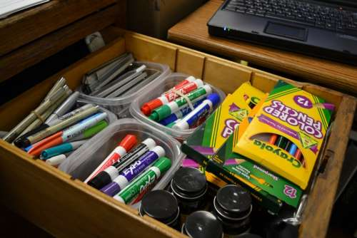 Felt Pens Drawer Supplies Art Classroom Drawing