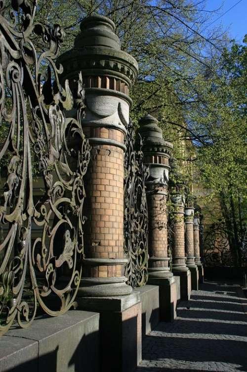Fence Pillars Decorative Ornate Park Path Trees