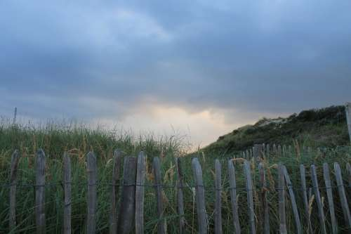 Fence Demarcation Dunes Sunset Clouds North Sea