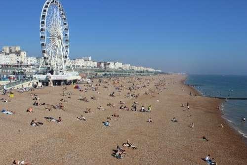 Ferris Wheel Coast Beach Water Wave Ocean Sea