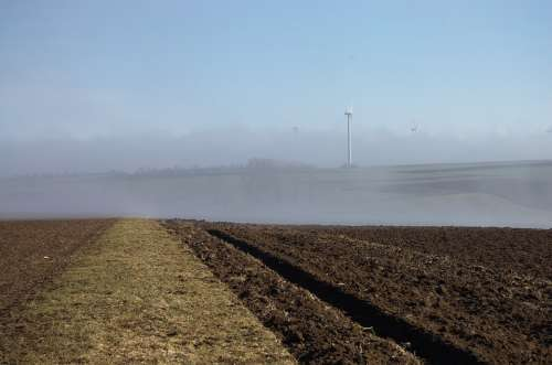 Field Arable Pinwheel Fog Nature Landscape