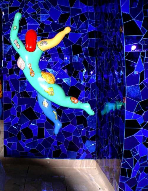 Figure Mosaic Colorful Art Building Wall Mirror
