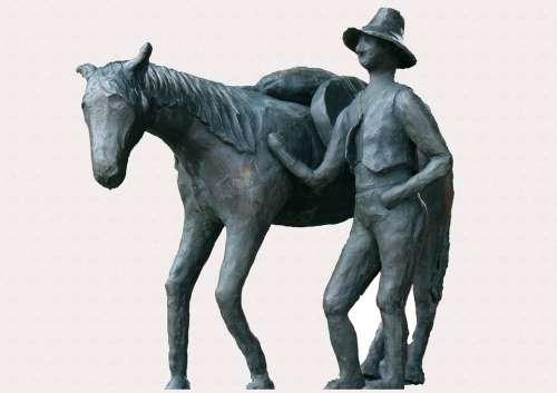 Figure Horse Reiter Symbol Statue Sculpture
