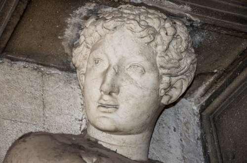 Figure Statue Man Face Venezia Venice Italy