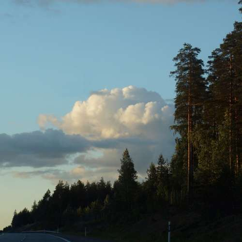 Finnish On The Road Twilight Cumulus Clouds Trees