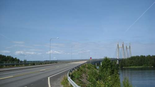 Finnish Landscape Bridge Sky Summer Water