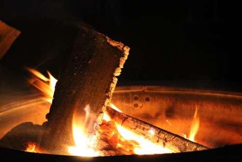 Fire Pit Flame Burning Wood Flames Bonfire Hot