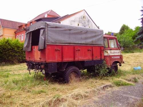 Fire Fire Truck Old Vehicle Scrap Red Grunge