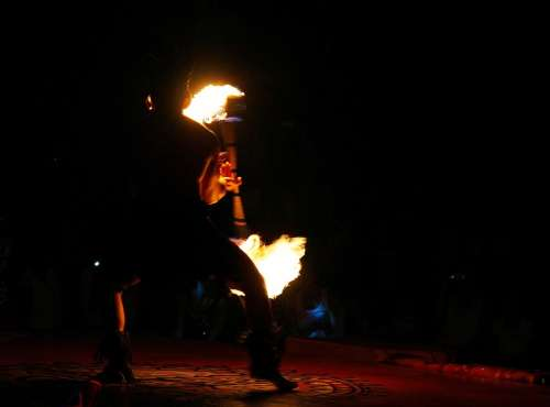 Fire Dancer Silhouette Entertainer Dangerous Baton