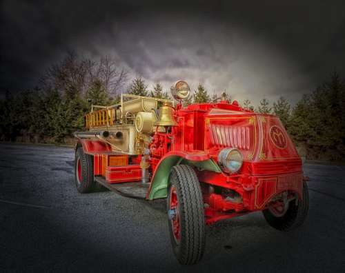 Fire Engine Truck Hdr Vintage Classic Oldster