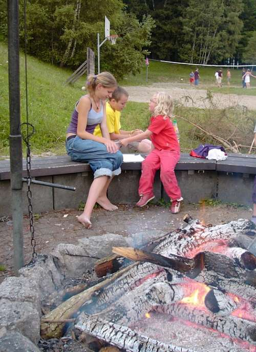 Fireplace Grill Fire Embers Girl Child Sport Play