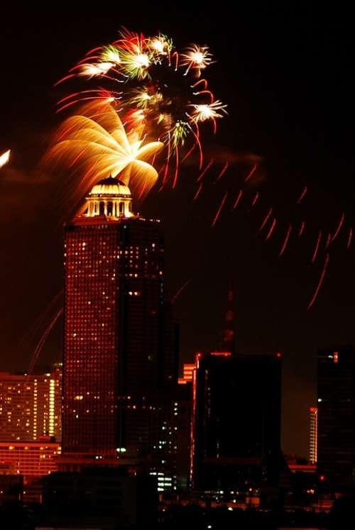 Firework Festival Bangkok Thailand Celebration