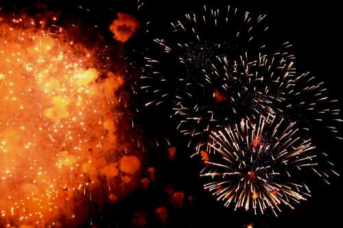 Fireworks Light Spray Flecks Smoke Puffs