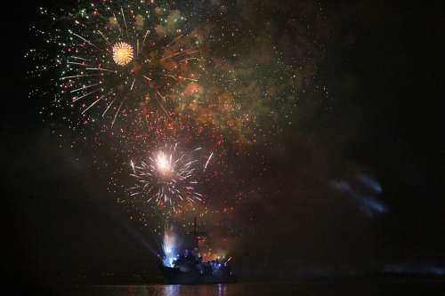 Fireworks Navy Harbor Night Battleship Water Ship