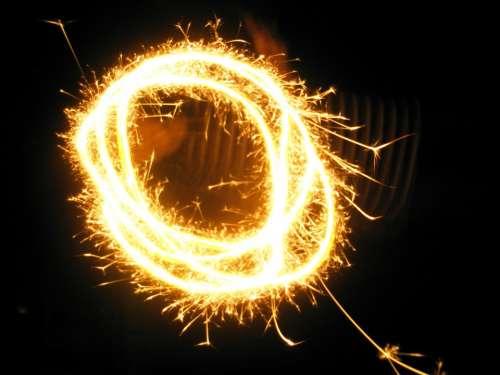 Fireworks Sparks Gold Lights Celebration New Year