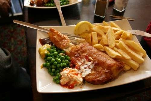 Fish Crisp Peas English Food