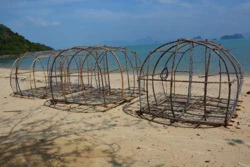 Fish Trap Baskets Beach Sea Thailand Water