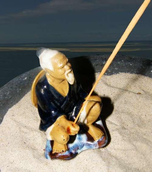 Fisherman Sea Ceramic Figure Fishing Rod