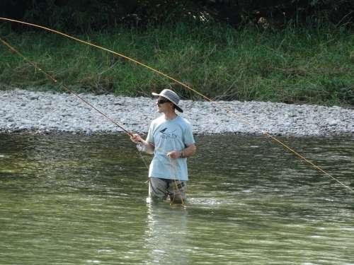Fisherman Fly Fishing Water River Nature Man