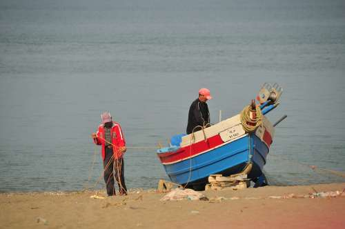 Fisherman Sea Net Boat Oued Laou Morocco