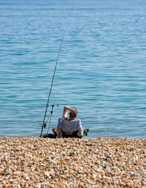 Fishing Man Beach Relaxing Sea Ocean Blue Calm