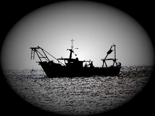 Fishing Fishing Boat Shadow Silhouette Backlight
