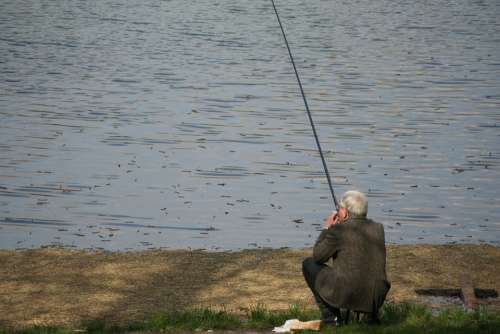 Fishing Fisherman Water Catching Fish Lake River