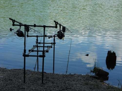 Fishing Fishing Rods Lake Water Nature Summer