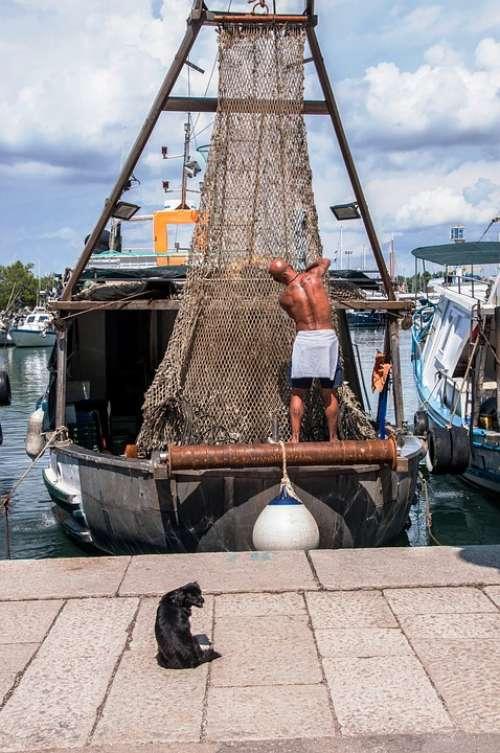 Fishing People Sea Boats Summer Croatia Istria