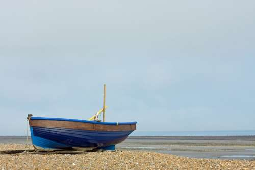 Fishing Boat Boat Wooden Blue Beach Sea Ocean