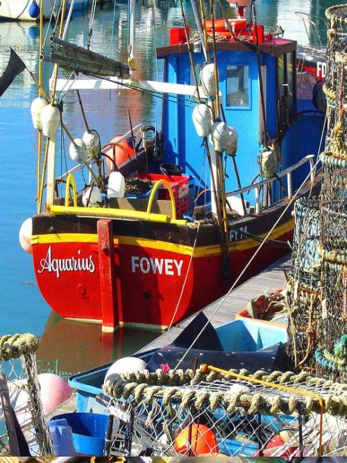 Fishing Boat Sea Quay Quayside Mooring Red Boat
