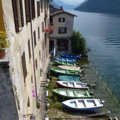 Fishing Boats Gandria Ticino Switzerland