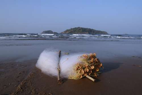 Fishing Net Fishnet Flues Flews Beach Arabian Sea
