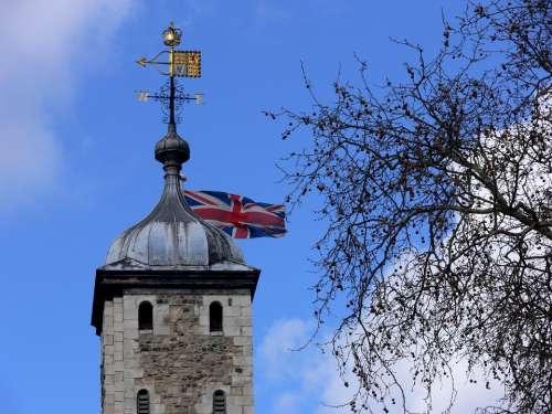 Flag Union Jack United Kingdom Britain Tower