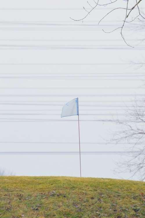 Flag Golf Course Wires Landscape Horizontal Nature