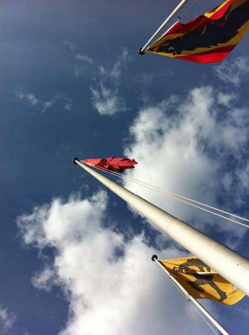 Flags Flag Poles Switzerland Bern Sky Clouds High
