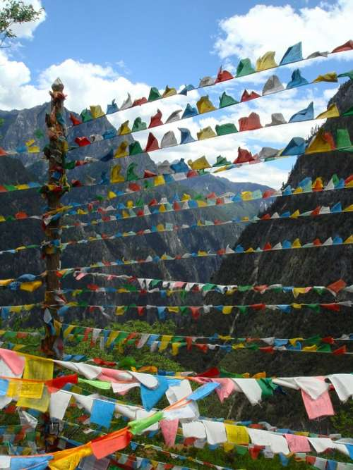 Flags Nepal Yunnan Sacred Temple Nepalese