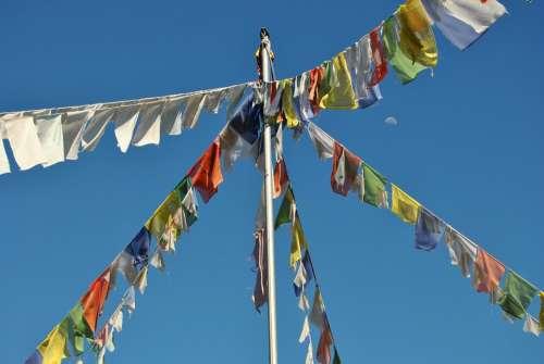 Flags Buddhism Flag Meditate Wind Sky