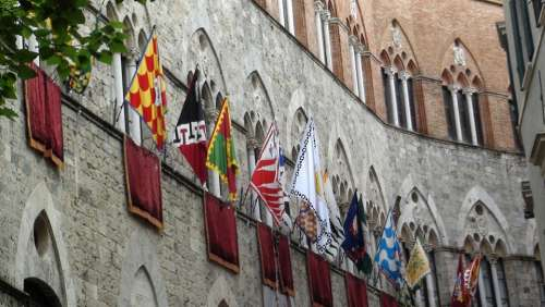 Flags Siena Party Palio Wall Architecture
