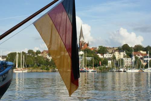 Flensburg Germany Flag Harbour Seaday Ships Boats