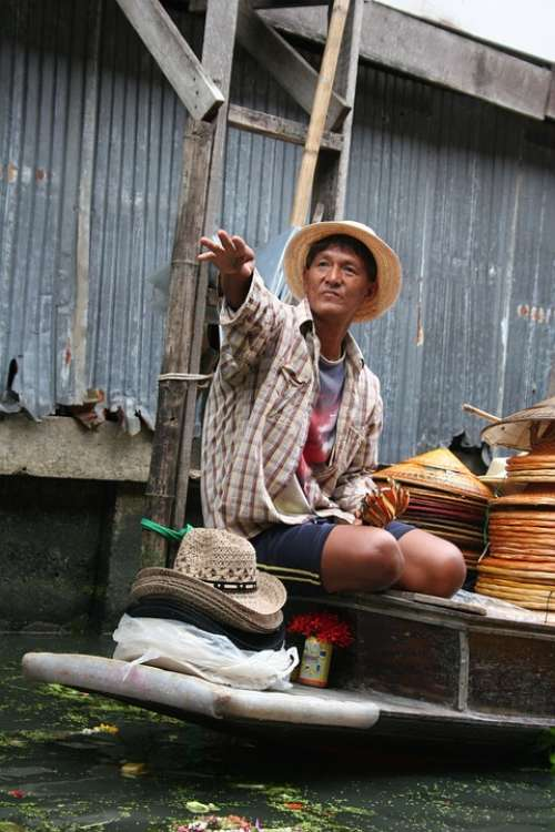 Floating Market Thailand Asia Thai Man Selling