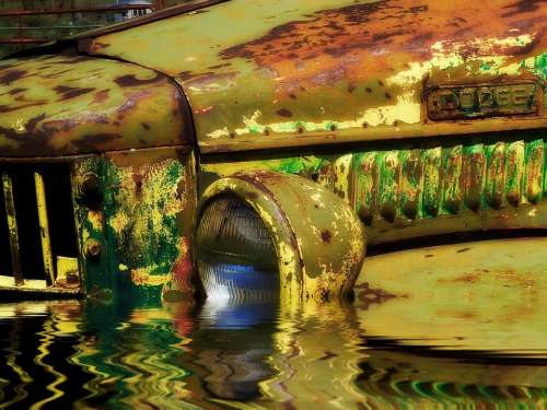 Flooded Old Rusty Car Truck Vehicle Old Timer