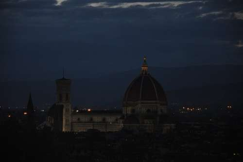 Florence Nocturne Landscape Tourism Tuscany