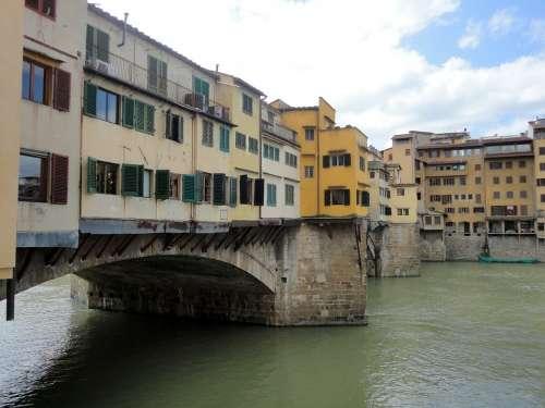 Florence Tuscany Italy Ponte Vecchio Water Bridge