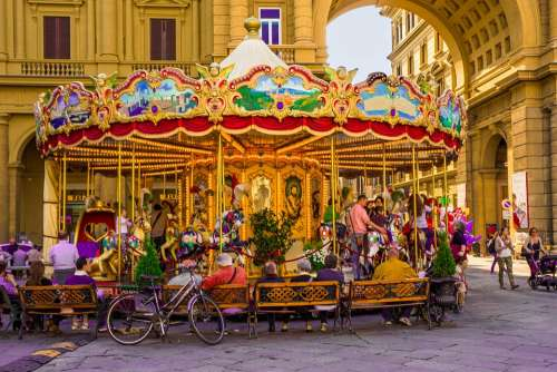 Florence Italy Carousel Plaza City Cities People