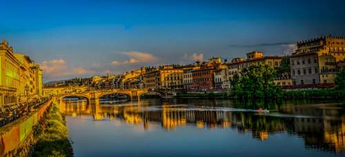 Florence Italy Ponte Vecchio Clouds Architecture