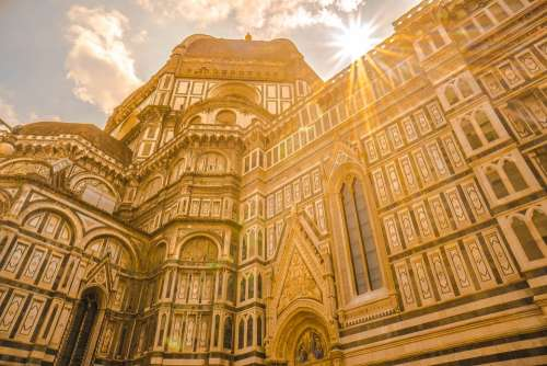 Florence Italy Domo Cathedral Architecture Clouds
