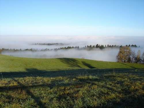 Fog Clouds Mountains Sky Landscape Nature