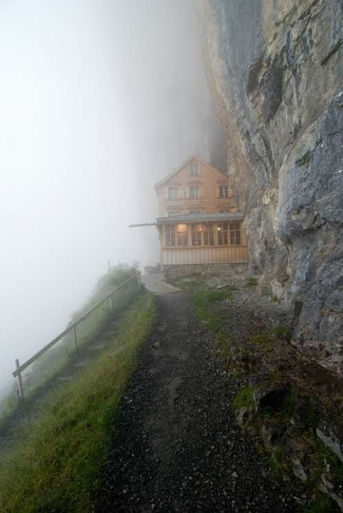 Fog Hut House Rocks Mountain Nature Misty Rural