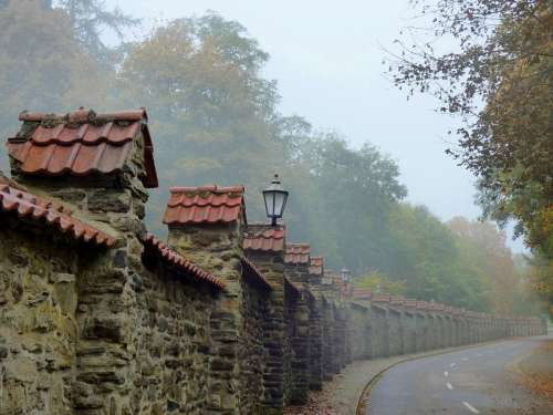 Fog Abbey Clervaux Old Wall Enchanted Atmosphere